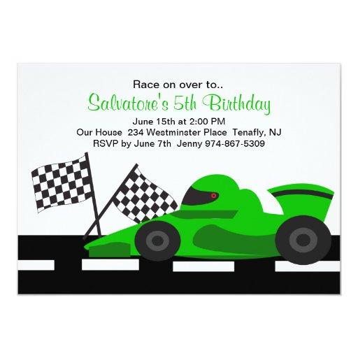 "Green Race Car Boys Birthday Invitation 5"" X 7"" Invitation Card"