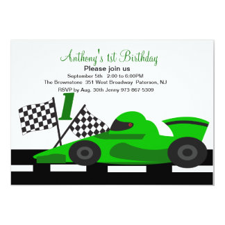 Green Race Car  Boys First Birthday Invitation