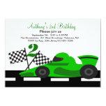 "Green Race Car  Boys Second Birthday Invitation 5"" X 7"" Invitation Card"