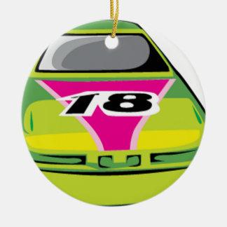 green race car ceramic ornament