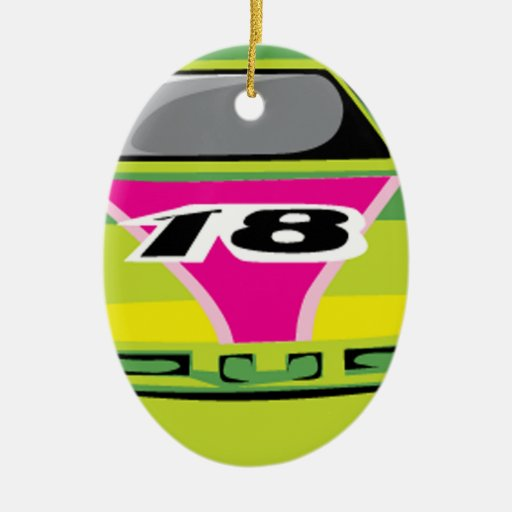 green race car Double-Sided oval ceramic christmas ornament