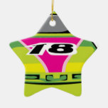 green race car Double-Sided star ceramic christmas ornament