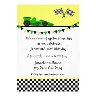 Green Race Car, Flags Birthday Invitation
