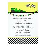 "Green Race Car, Flags Birthday Invitation 5"" X 7"" Invitation Card"