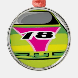 green race car metal ornament
