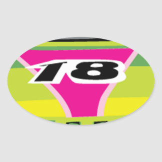 green race car oval sticker