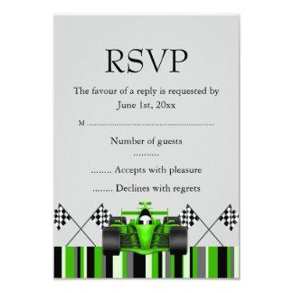 Green Race Car RSVP 3.5x5 Paper Invitation Card