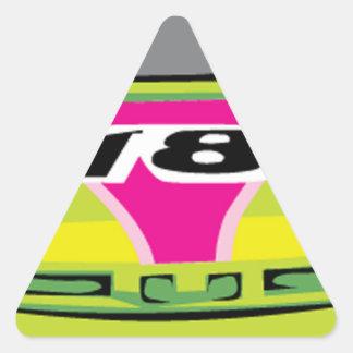 green race car triangle sticker
