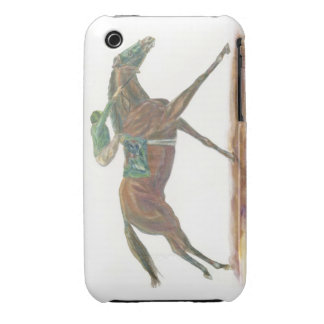 Green Race horse and jockey iPhone 3 Cover