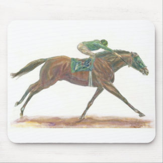 Green Race horse and jockey Mouse Pad
