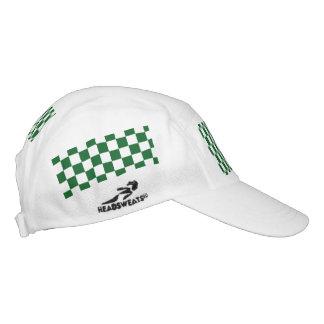 Green Racing Checkered Flag Display Customizable Hat