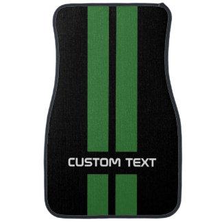 Green Racing Stripes Car Mats - with custom text Car Mat