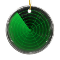 green radar pattern ceramic ornament