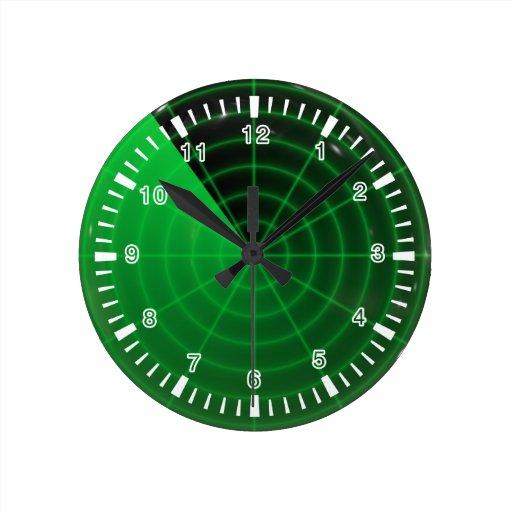 green radar pattern round wallclock