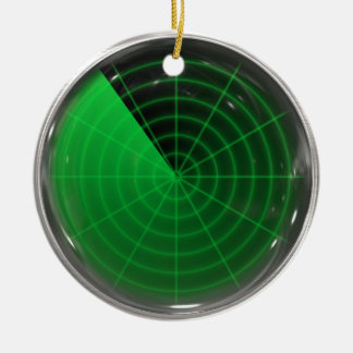 green radar pattern Double-Sided ceramic round christmas ornament