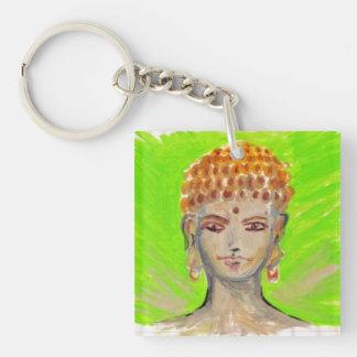 Green Radiant Buddha Single-Sided Square Acrylic Keychain