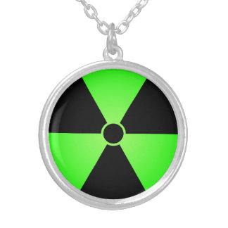 Green Radiation Symbol Silver Plated Necklace