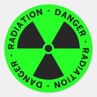 Green Radiation Symbol Sticker Round Sticker