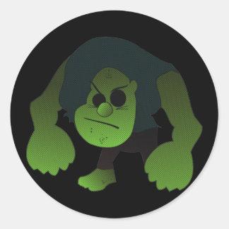 GREEN RAGE MAN CLASSIC ROUND STICKER
