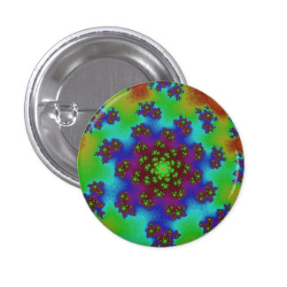 Green Rainbow Floral Sprinkles Button