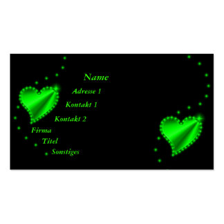 green Rainbow Heart with Stars on black Double-Sided Standard Business Cards (Pack Of 100)