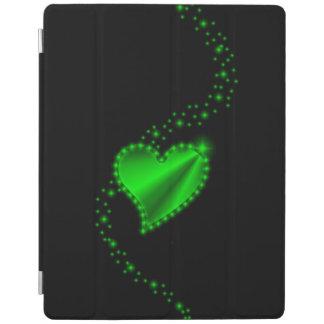 Green Rainbow Heart with Stars on black iPad Cover