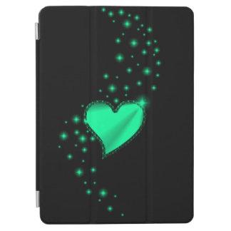 Green Rainbow Heart with Stars on black iPad Air Cover