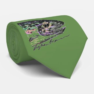 Green rainbow trout tie