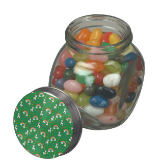 Green rainbow unicorn hearts stars pattern jelly belly candy jars