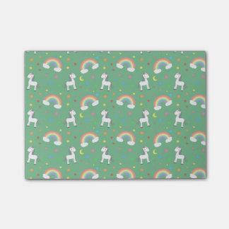 Green rainbow unicorn hearts stars pattern post-it® notes