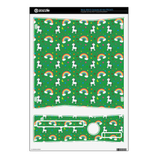 Green rainbow unicorn hearts stars pattern skins for the xbox 360 s
