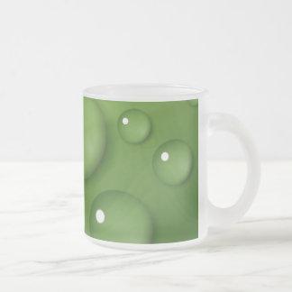 Green Raindrop Pattern Frosted Glass Coffee Mug