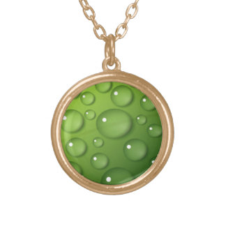 Green Raindrop Pattern Gold Plated Necklace