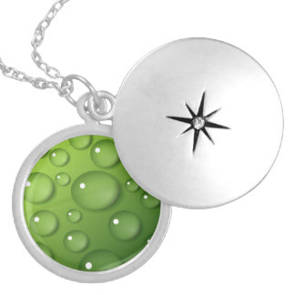 Green Raindrop Pattern Silver Plated Necklace