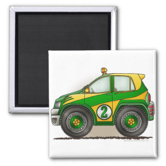 Green Rally Car Magnets