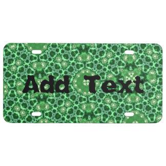 Green random pattern license plate