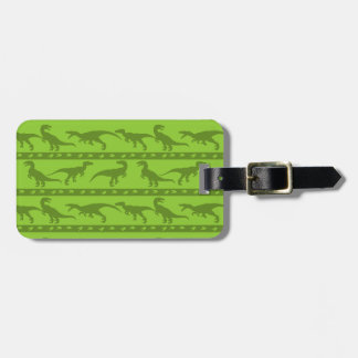 Green Raptor Pattern Bag Tag