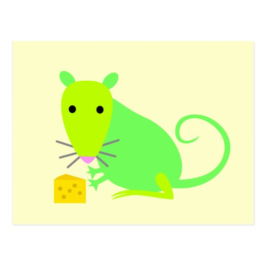 Green Rat with Cheese Postcard