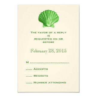 Green Rattan Seashell Wedding Reply RSVP Cards
