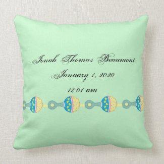 Green Rattle Baby Keepsake Pillow