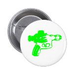 Green Raygun Pinback Buttons