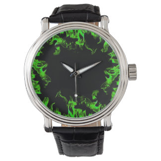 Green real fire flame vintage style watch
