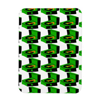 Green Record Player Houndstooth Flexible Magnet