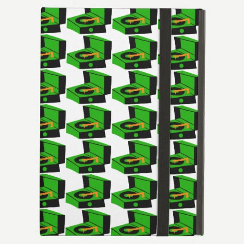 Green Record Player Houndstooth iPad Case
