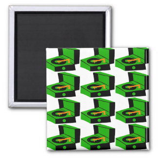 Green Record Player Houndstooth Magnet