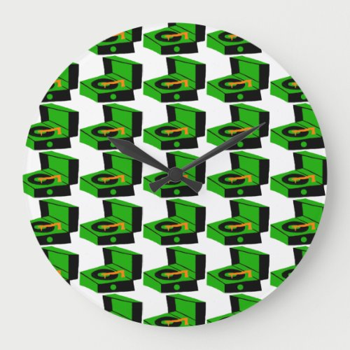 Green Record Player Houndstooth Round Wall Clock