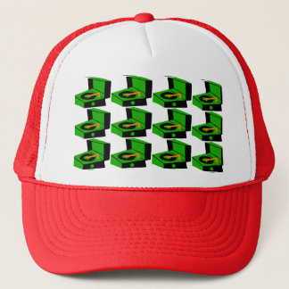 Green Record Player Houndstooth Trucker Hat