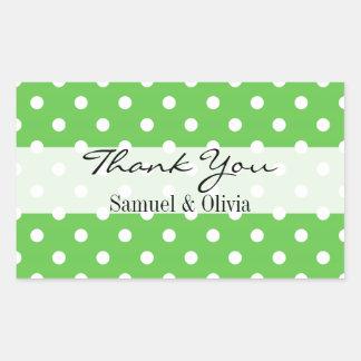 Green Rectangle Custom Polka Dotted Thank You Rectangular Sticker