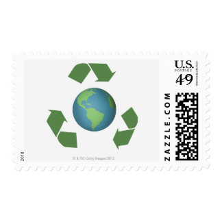 Green recycle arrows encircle the earth postage