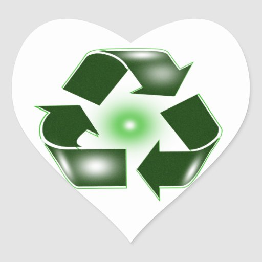 Green Recycle Logo Heart Sticker
